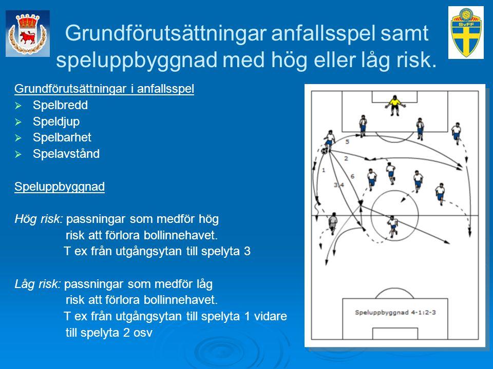 Grundförutsättningar anfallsspel samt speluppbyggnad med hög eller låg risk.
