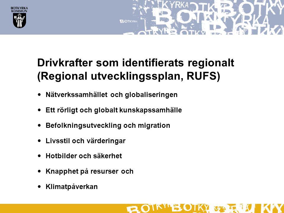 Drivkrafter som identifierats regionalt (Regional utvecklingssplan, RUFS)
