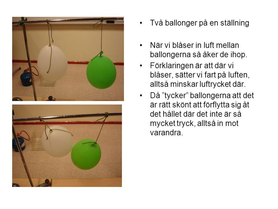 Två ballonger på en ställning