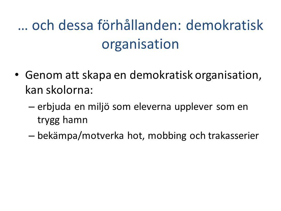 … och dessa förhållanden: demokratisk organisation