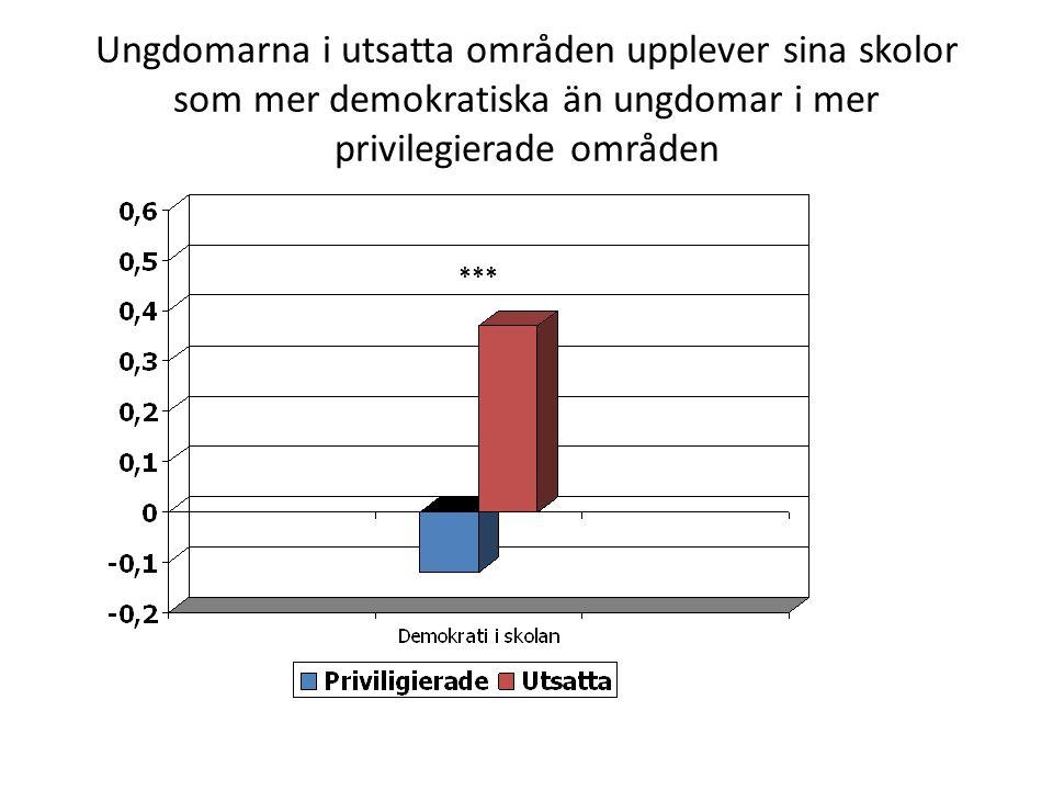 Ungdomarna i utsatta områden upplever sina skolor som mer demokratiska än ungdomar i mer privilegierade områden