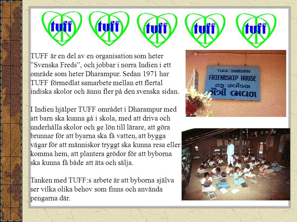 TUFF är en del av en organisation som heter Svenska Freds , och jobbar i norra Indien i ett område som heter Dharampur. Sedan 1971 har TUFF förmedlat samarbete mellan ett flertal indiska skolor och ännu fler på den svenska sidan.
