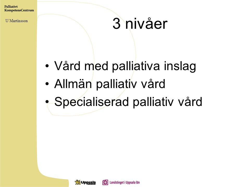 3 nivåer Vård med palliativa inslag Allmän palliativ vård