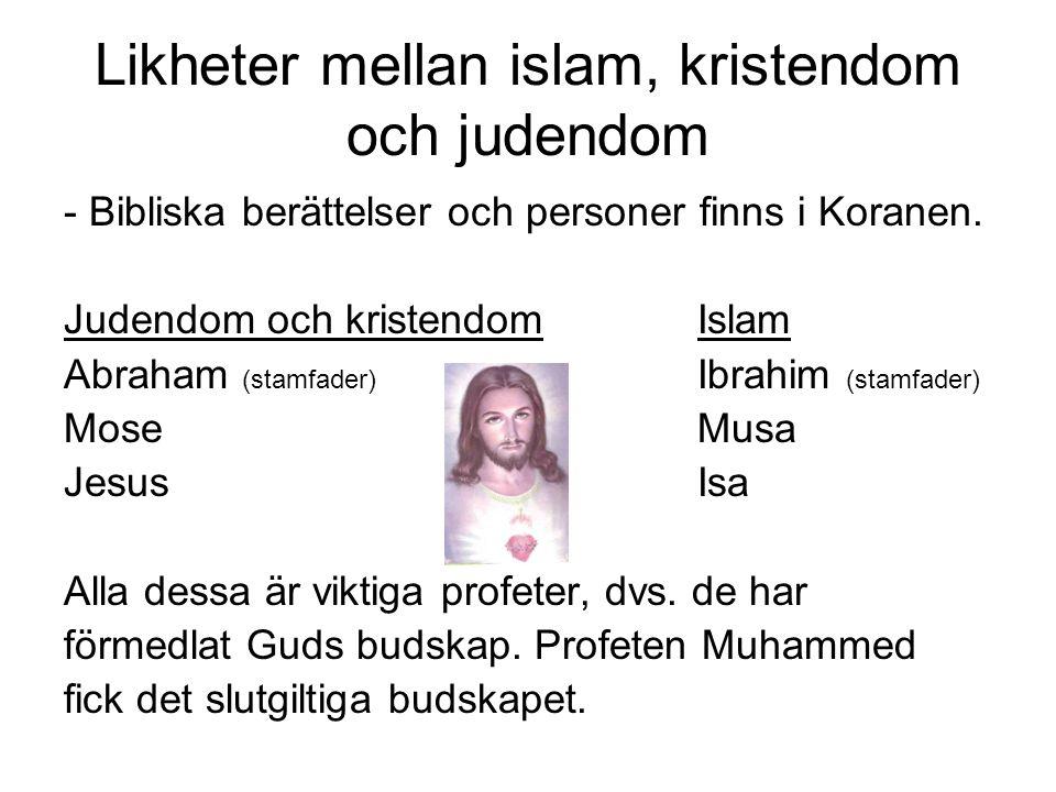 Likheter mellan islam, kristendom och judendom