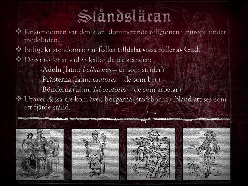 Ståndsläran Kristendomen var den klart dominerande religionen i Europa under medeltiden.