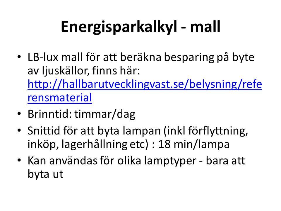 Energisparkalkyl - mall