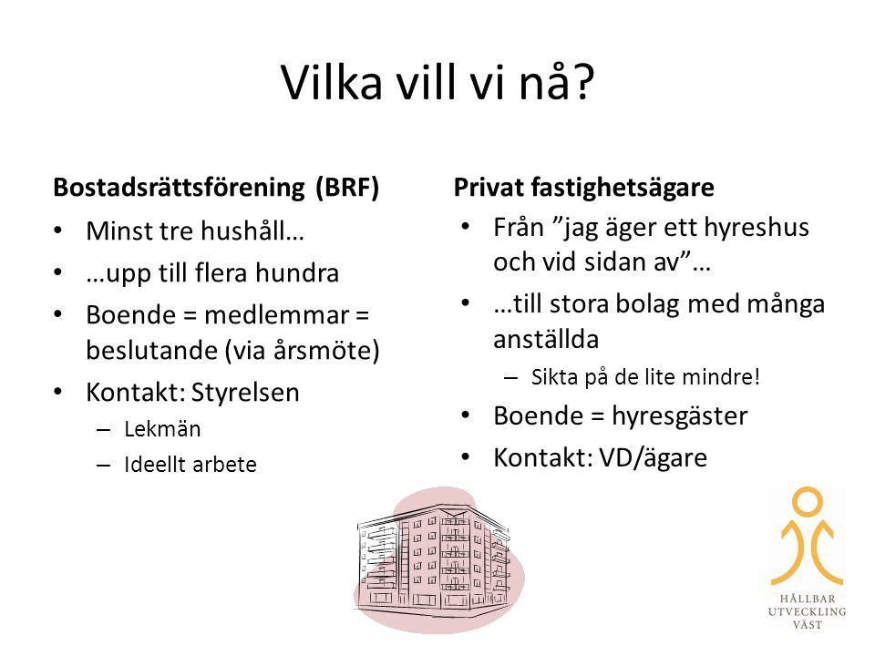 Vilka vill vi nå Bostadsrättsförening (BRF) Privat fastighetsägare