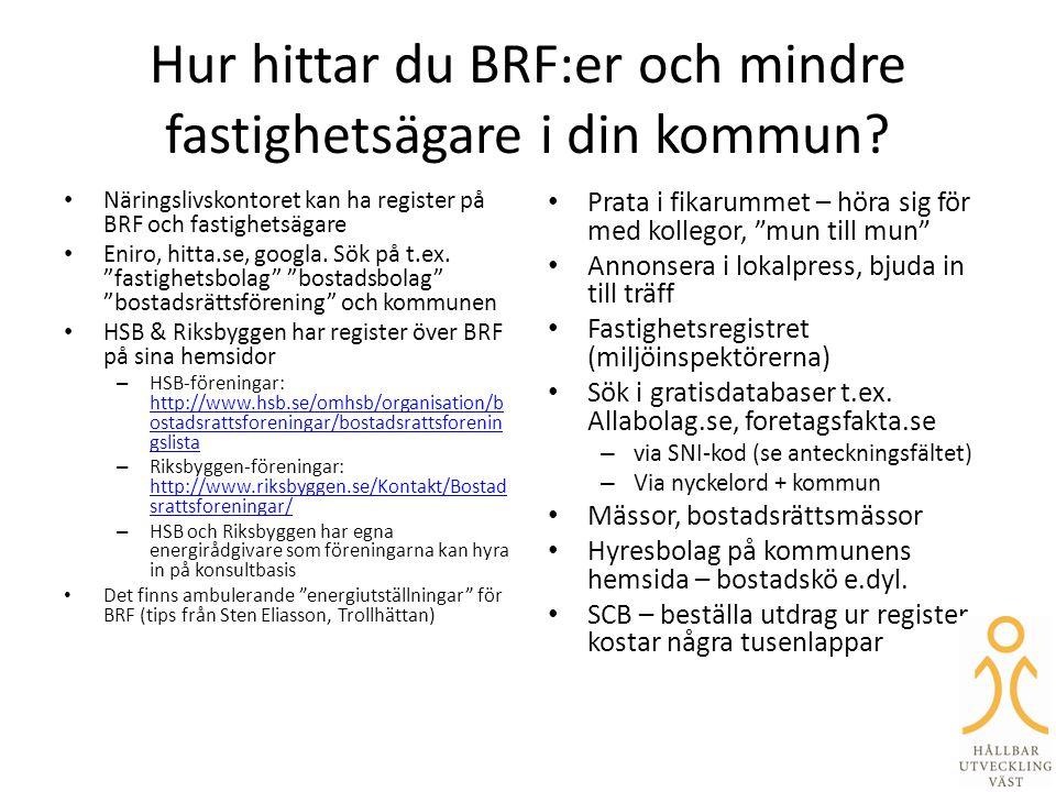 Hur hittar du BRF:er och mindre fastighetsägare i din kommun