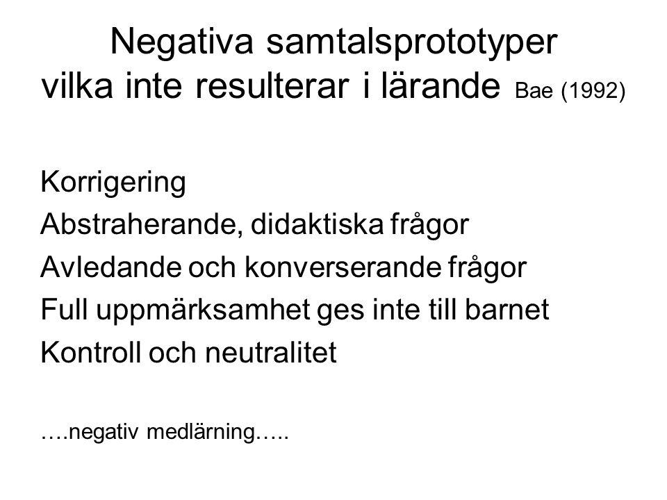 Negativa samtalsprototyper vilka inte resulterar i lärande Bae (1992)