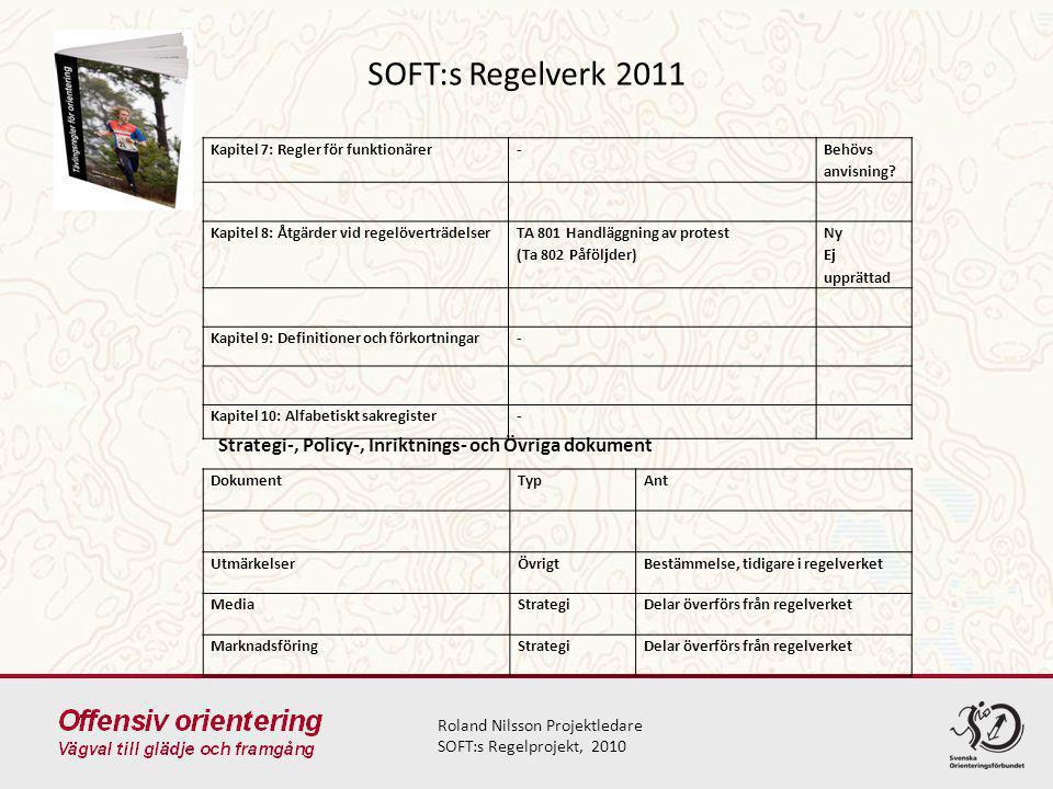 SOFT:s Regelverk 2011 Kapitel 7: Regler för funktionärer. - Behövs anvisning Kapitel 8: Åtgärder vid regelöverträdelser.