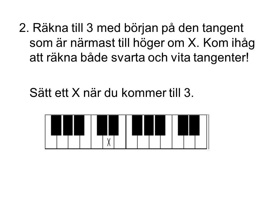 2. Räkna till 3 med början på den tangent som är närmast till höger om X. Kom ihåg att räkna både svarta och vita tangenter!