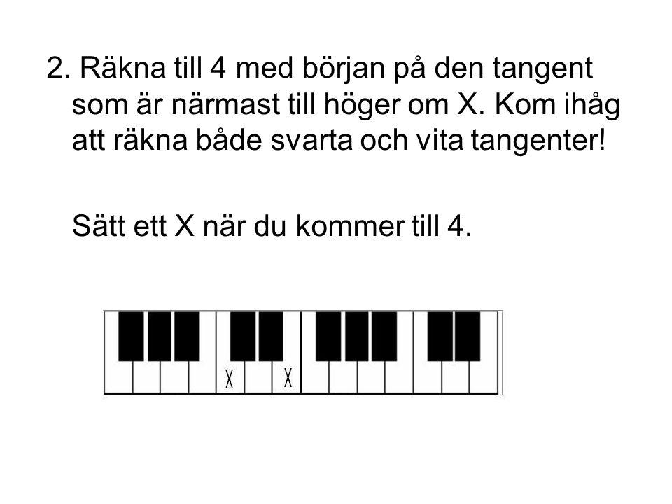 2. Räkna till 4 med början på den tangent som är närmast till höger om X. Kom ihåg att räkna både svarta och vita tangenter!