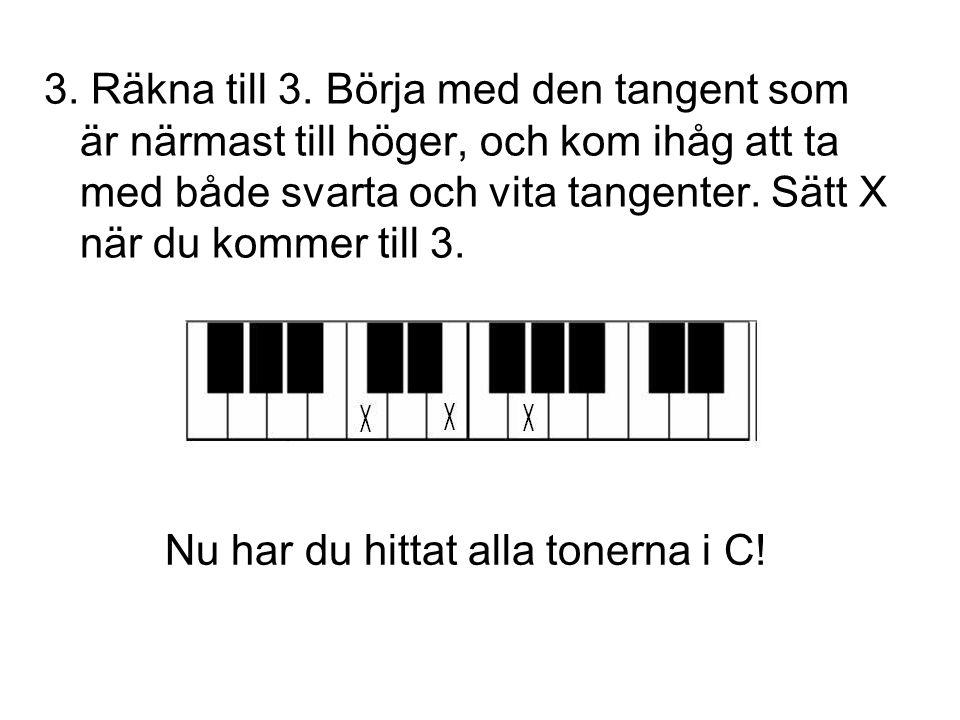 3. Räkna till 3. Börja med den tangent som är närmast till höger, och kom ihåg att ta med både svarta och vita tangenter. Sätt X när du kommer till 3.