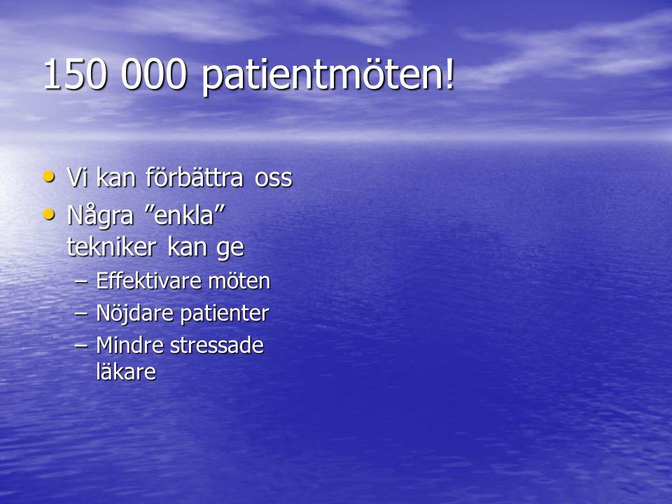 150 000 patientmöten! Vi kan förbättra oss