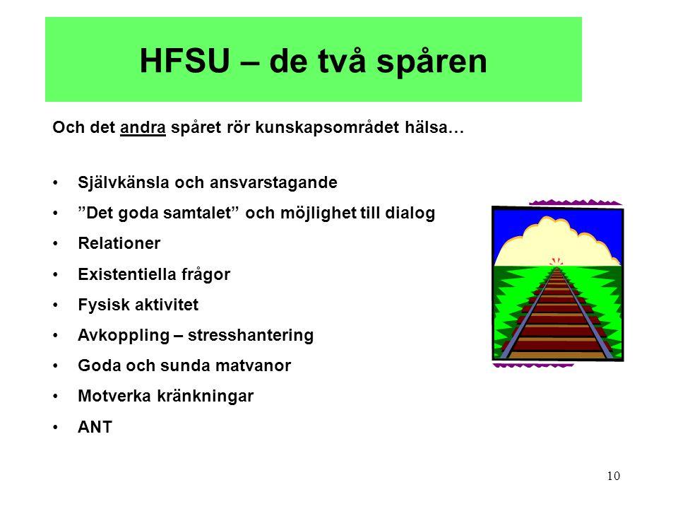 HFSU – de två spåren Och det andra spåret rör kunskapsområdet hälsa…