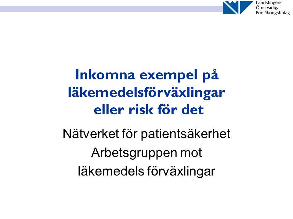 Inkomna exempel på läkemedelsförväxlingar eller risk för det