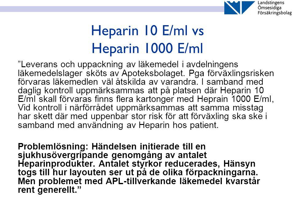 Heparin 10 E/ml vs Heparin 1000 E/ml