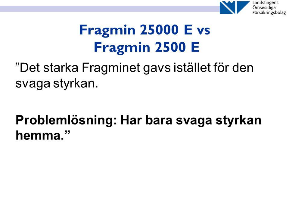 Fragmin 25000 E vs Fragmin 2500 E Det starka Fragminet gavs istället för den svaga styrkan.