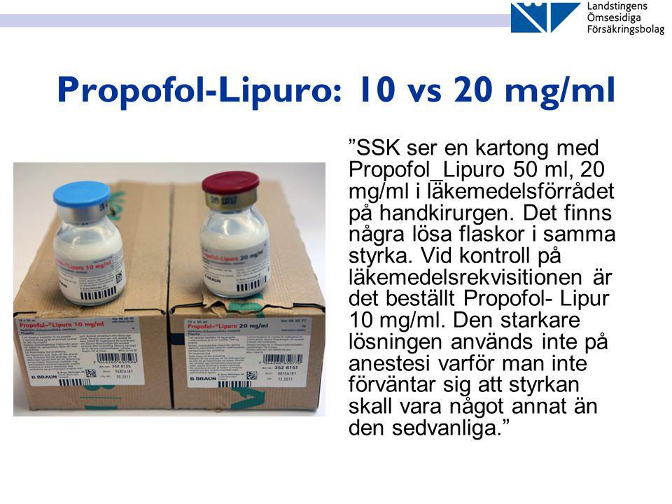 Propofol-Lipuro: 10 vs 20 mg/ml