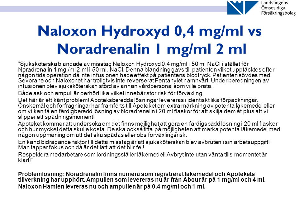 Naloxon Hydroxyd 0,4 mg/ml vs Noradrenalin 1 mg/ml 2 ml