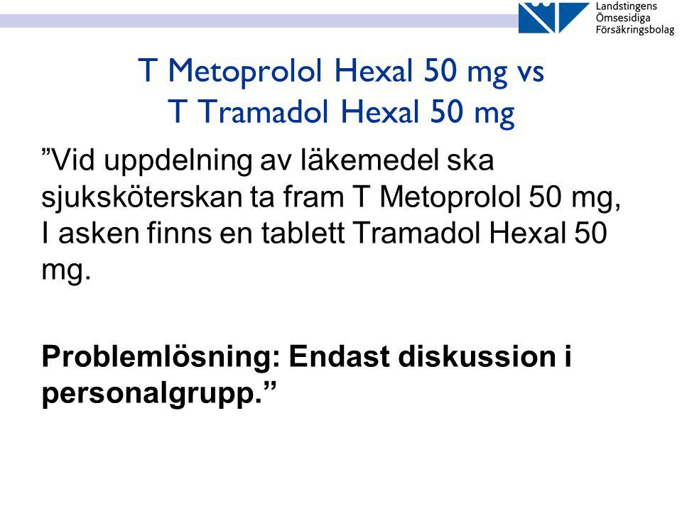 T Metoprolol Hexal 50 mg vs T Tramadol Hexal 50 mg