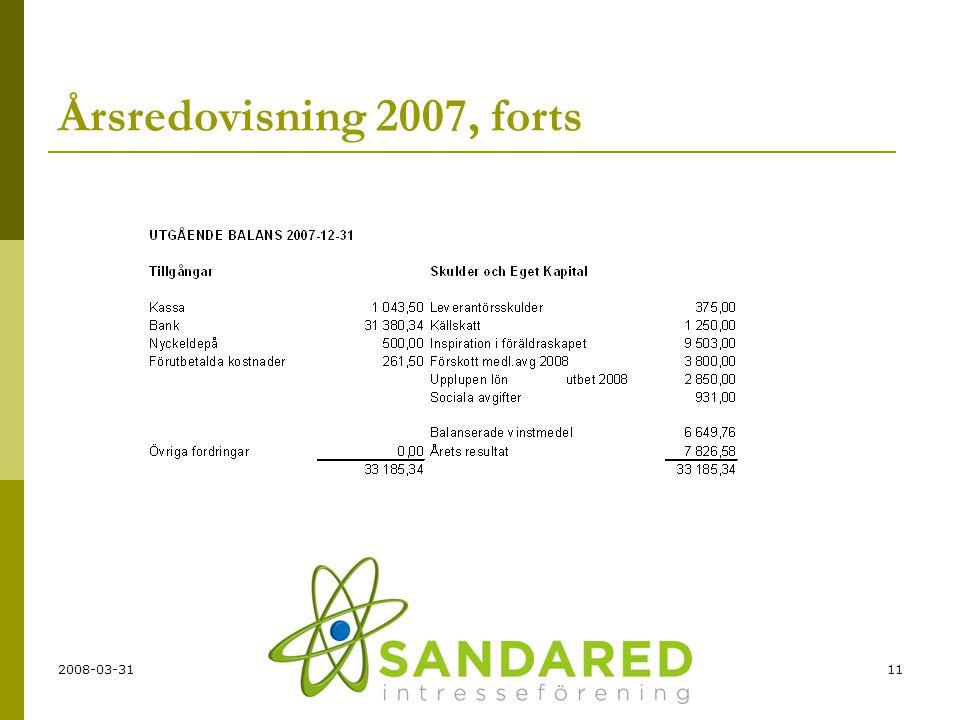 Årsredovisning 2007, forts 2008-03-31