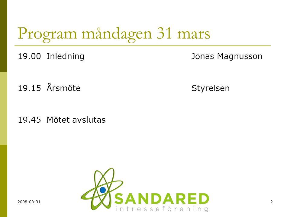 Program måndagen 31 mars 19.00 Inledning Jonas Magnusson