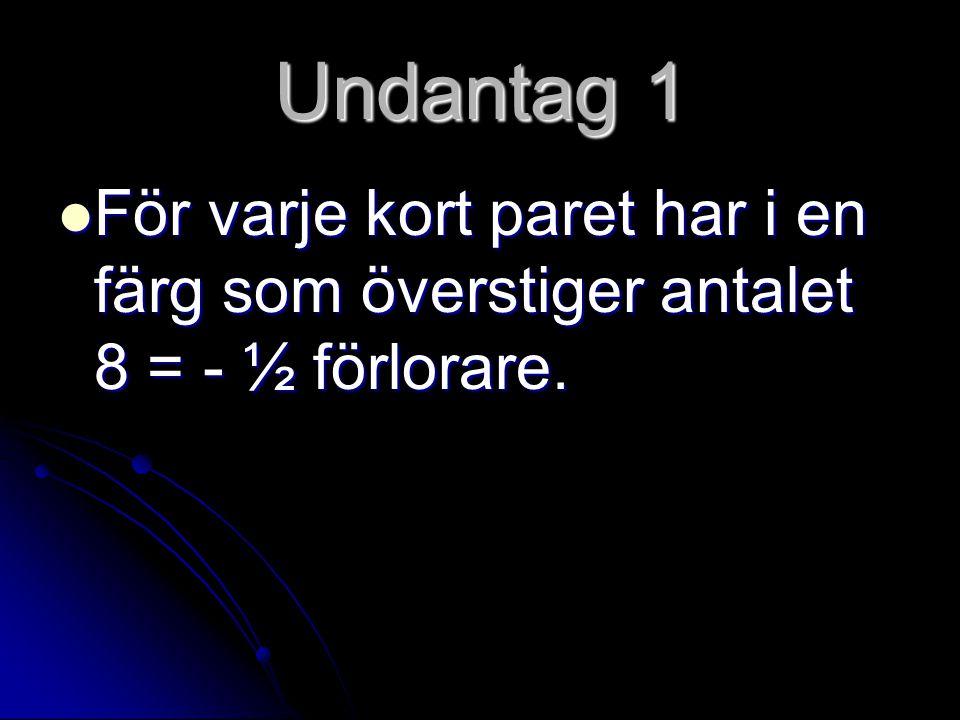 Undantag 1 För varje kort paret har i en färg som överstiger antalet 8 = - ½ förlorare.