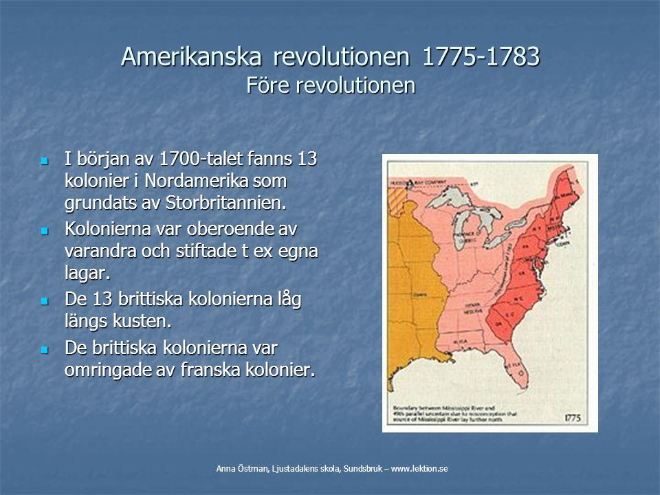 Amerikanska revolutionen 1775-1783 Före revolutionen
