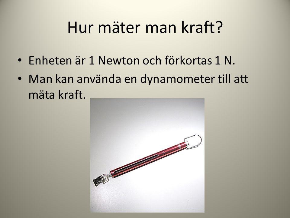Hur mäter man kraft Enheten är 1 Newton och förkortas 1 N.