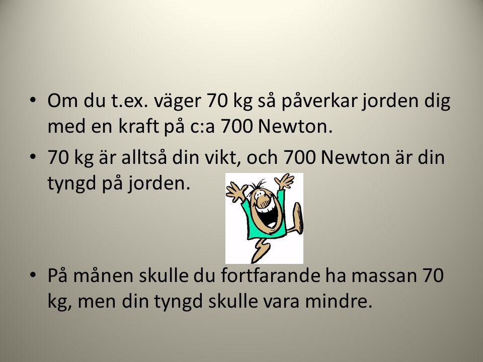 Om du t.ex. väger 70 kg så påverkar jorden dig med en kraft på c:a 700 Newton.