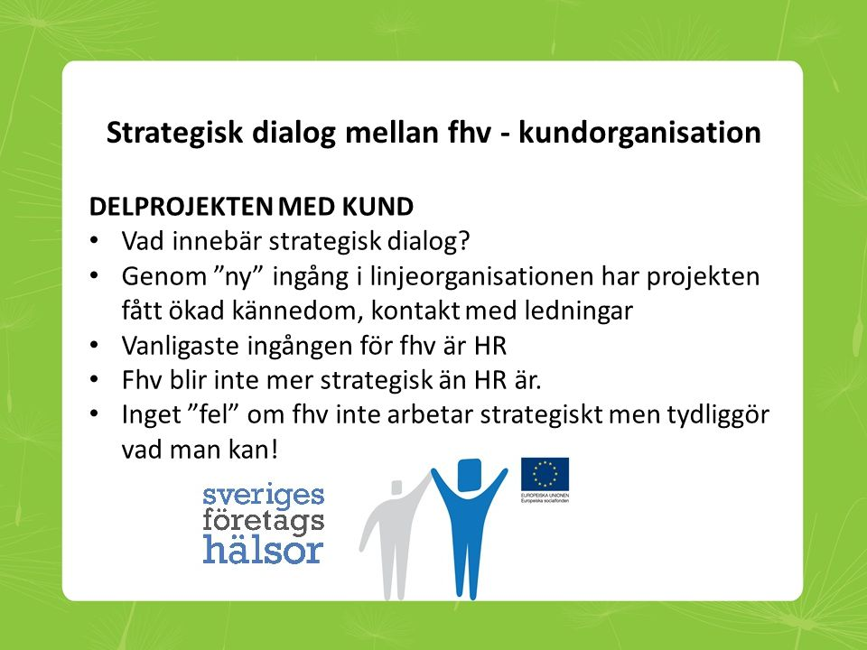 Strategisk dialog mellan fhv - kundorganisation