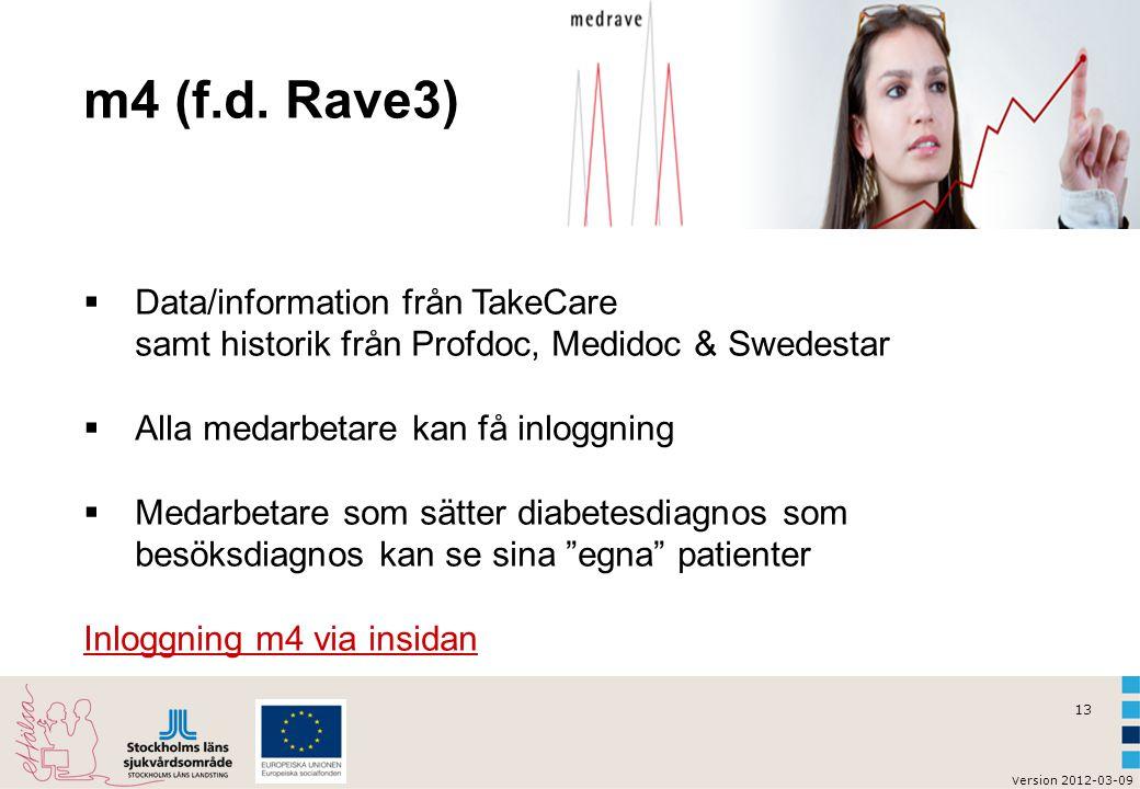 m4 (f.d. Rave3) Data/information från TakeCare samt historik från Profdoc, Medidoc & Swedestar. Alla medarbetare kan få inloggning.