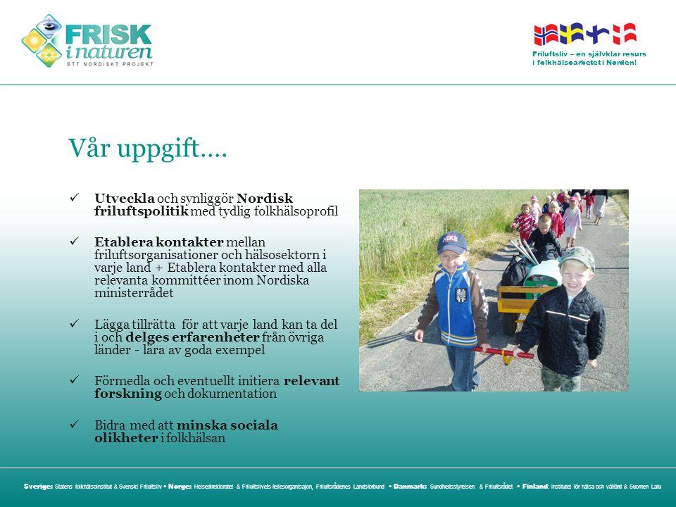 Vår uppgift…. Utveckla och synliggör Nordisk friluftspolitik med tydlig folkhälsoprofil.