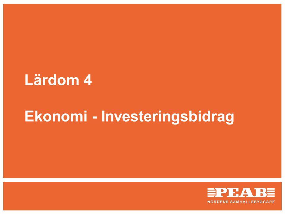 Lärdom 4 Ekonomi - Investeringsbidrag