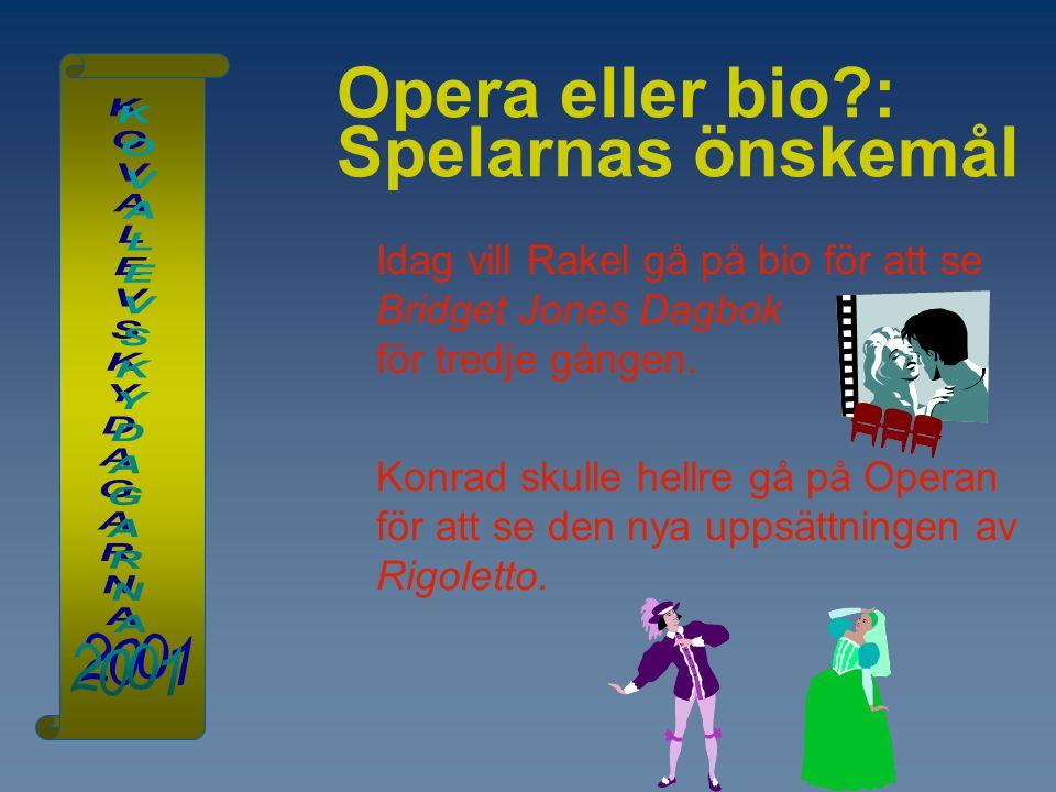 Opera eller bio : Spelarnas önskemål