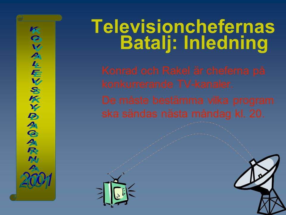 Televisionchefernas Batalj: Inledning