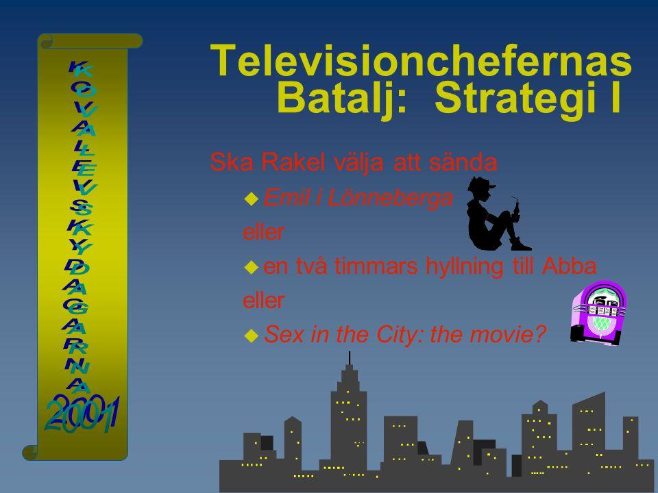 Televisionchefernas Batalj: Strategi I