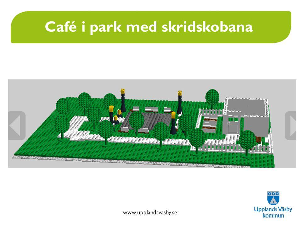 Café i park med skridskobana