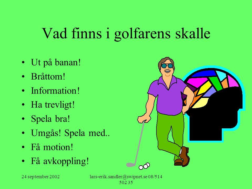 Vad finns i golfarens skalle
