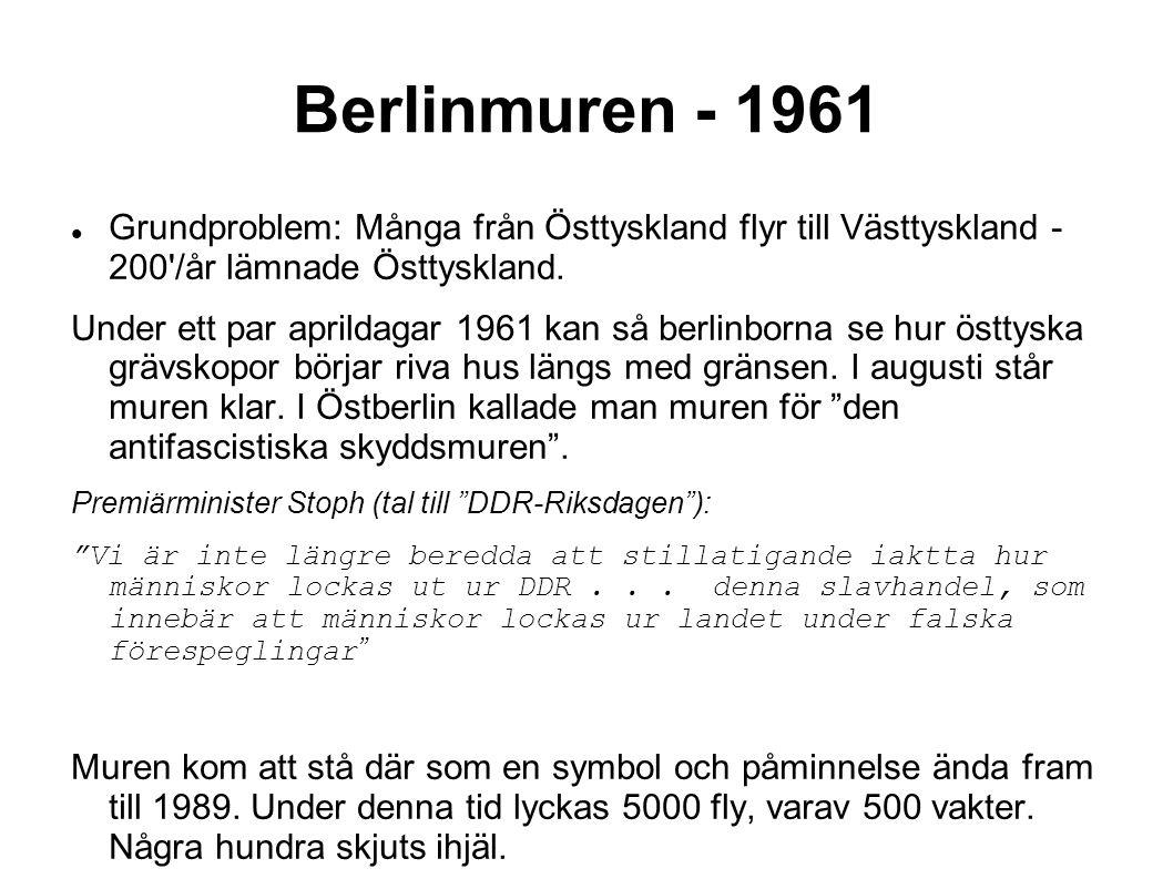 Berlinmuren - 1961 Grundproblem: Många från Östtyskland flyr till Västtyskland - 200 /år lämnade Östtyskland.