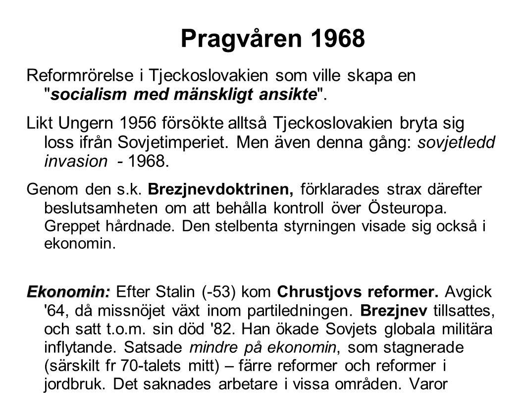 Pragvåren 1968 Reformrörelse i Tjeckoslovakien som ville skapa en socialism med mänskligt ansikte .