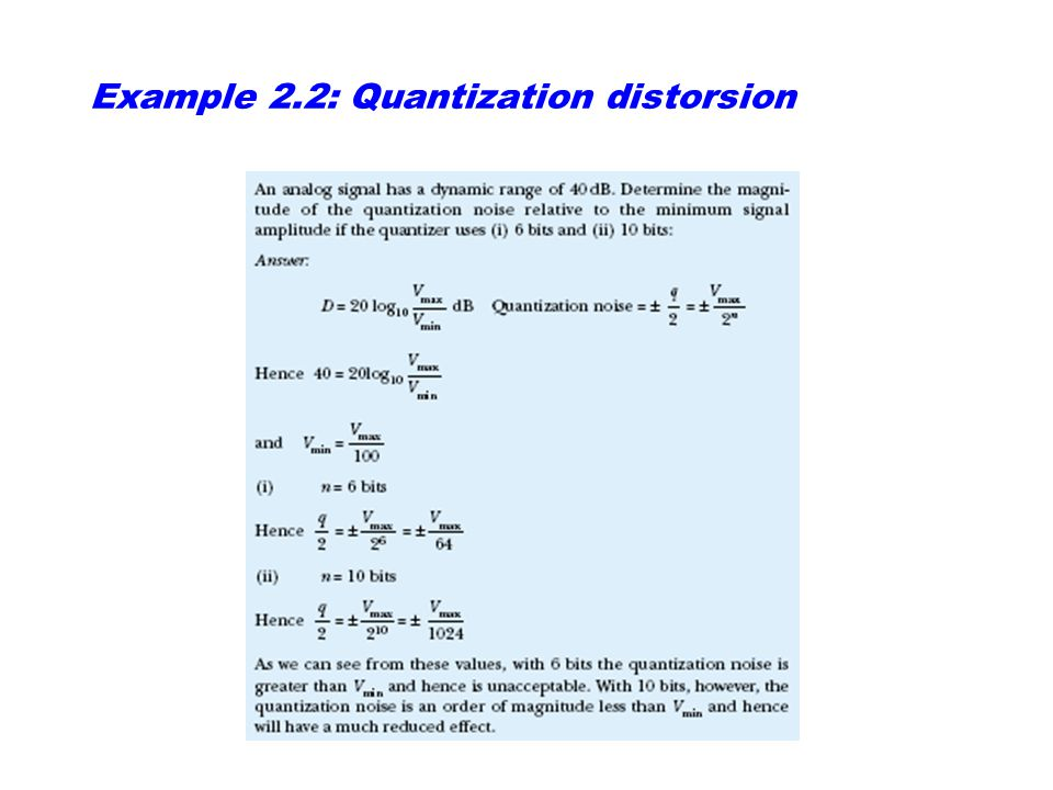 Example 2.2: Quantization distorsion