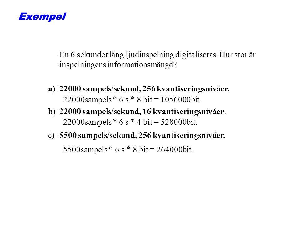 Exempel En 6 sekunder lång ljudinspelning digitaliseras. Hur stor är inspelningens informationsmängd
