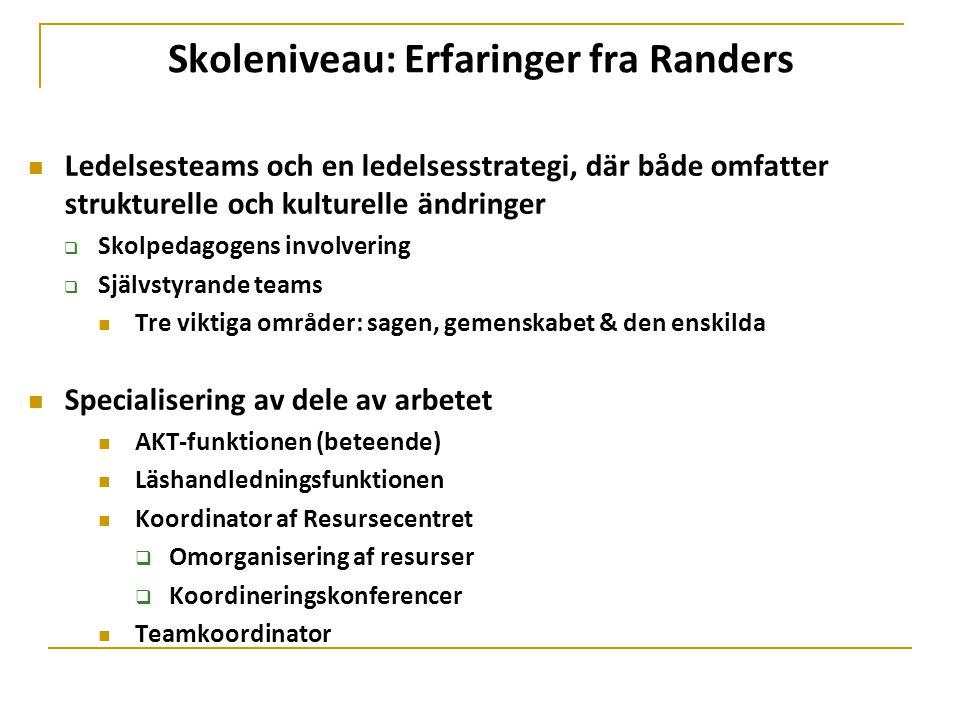 Skoleniveau: Erfaringer fra Randers