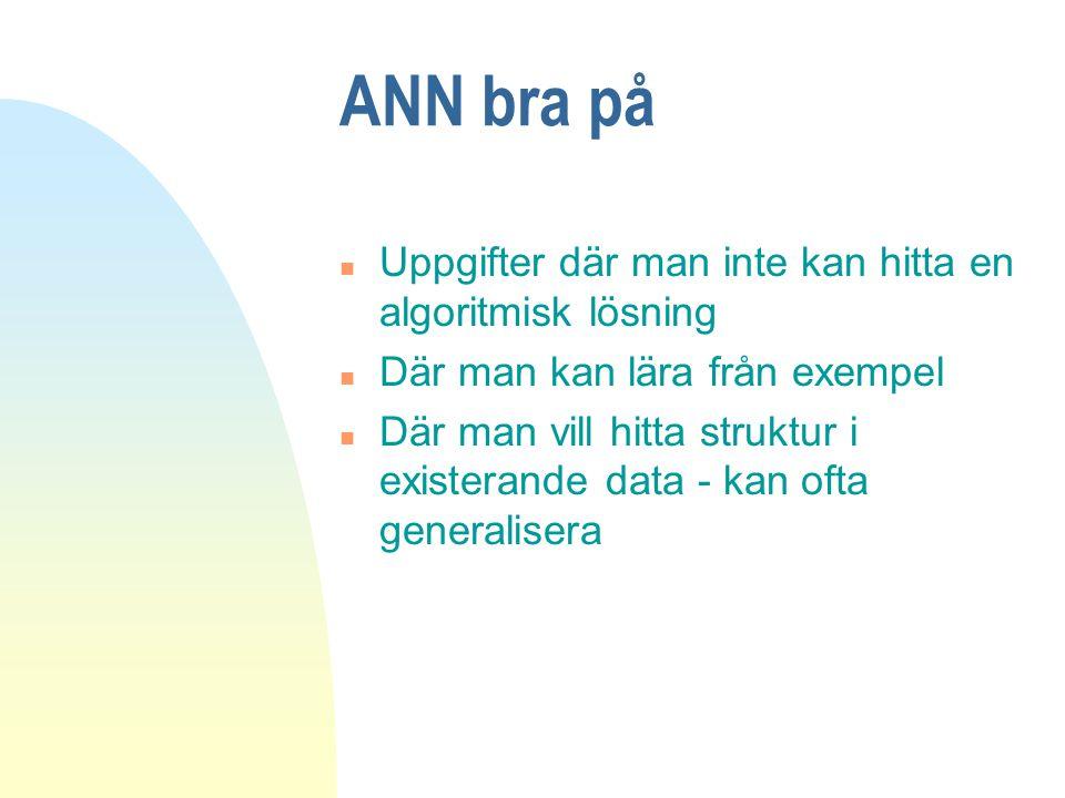ANN bra på Uppgifter där man inte kan hitta en algoritmisk lösning