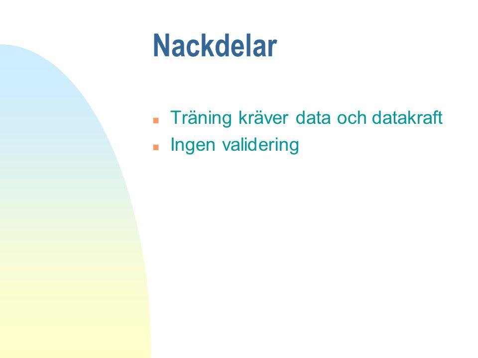 Nackdelar Träning kräver data och datakraft Ingen validering