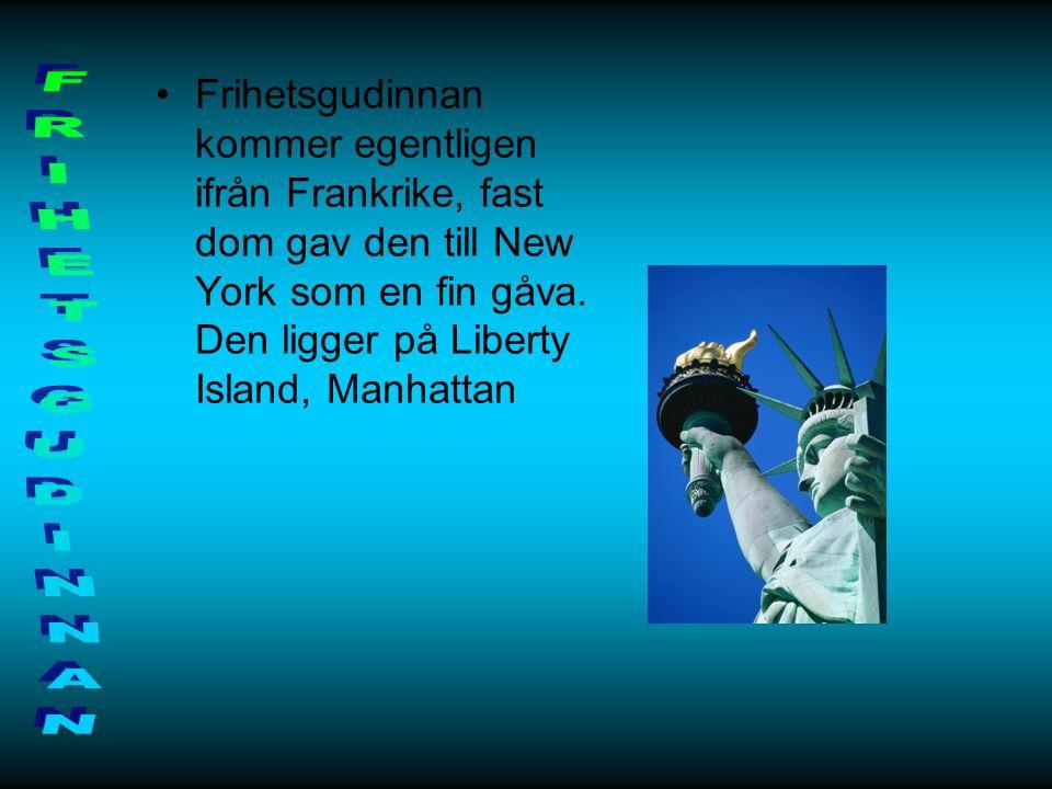 Frihetsgudinnan kommer egentligen ifrån Frankrike, fast dom gav den till New York som en fin gåva. Den ligger på Liberty Island, Manhattan