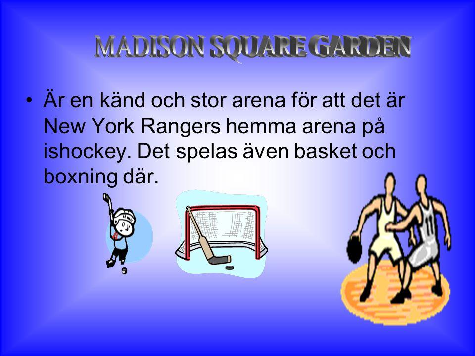 MADISON SQUARE GARDEN Är en känd och stor arena för att det är New York Rangers hemma arena på ishockey.