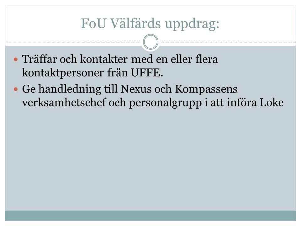 FoU Välfärds uppdrag: Träffar och kontakter med en eller flera kontaktpersoner från UFFE.